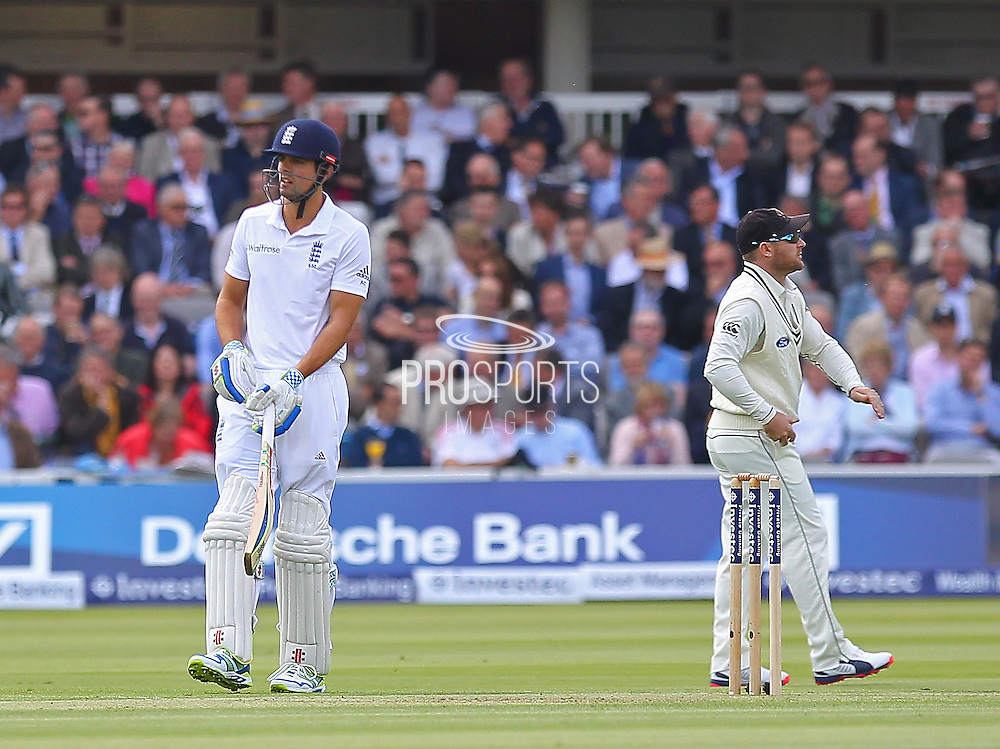 England Captain Alastair Cook during the first day of the Investec 1st Test  match between England and New Zealand at Lord's Cricket Ground, St John's Wood, United Kingdom on 21 May 2015. Photo by Ellie  Hoad.