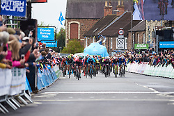 The final sprint at ASDA Tour de Yorkshire Women's Race 2019 - Stage 1, a 132 km road race from Barnsley to Bedale, United Kingdom on May 3, 2019. Photo by Sean Robinson/velofocus.com