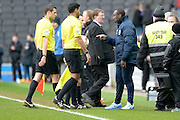 QPR Manager Jimmy Floyd Hasselbaink confronts the match officials during the Sky Bet Championship match between Milton Keynes Dons and Queens Park Rangers at stadium:mk, Milton Keynes, England on 5 March 2016. Photo by Dennis Goodwin.