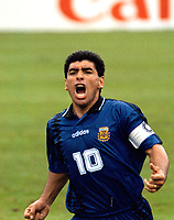 1994 - FOOTBAL WORLD CUP USA'94 - DIEGO MARADONA The Argentine player DIEGO MARADONA celebrating his HISTORICAL GOAL vs. GREECE.<br />