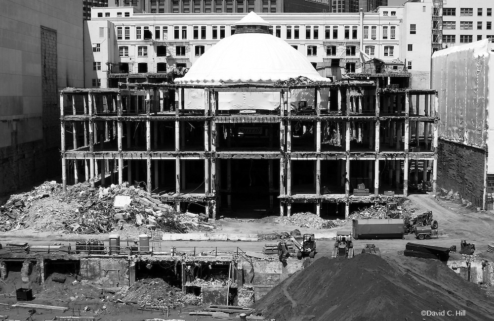 San Francisco California 2004. Demolition of Emporium. Preservation of Dome and Facade will be part of the new Architecture San Francisco, Emporium Demolition 2005. Preservation of Dome & Facade