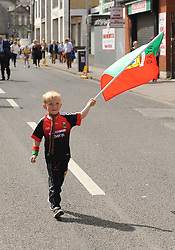 Mayo supporter Ethan Grehan from Claremorris<br /> on his way to the Croke park for the All Ireland quarter final replay<br /> Pic Conor McKeown