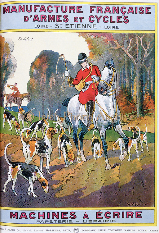 Cover of catalogue of Manufrance (Manufacture Francaise d'Armes et Cycles) Saint Etienne, c1920.   French huntsmen. Horse Hound Woodland Whip Horn