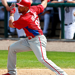 March 9, 2011; Lakeland, FL, USA; Philadelphia Phillies left fielder Raul Ibanez (29) during a spring training exhibition game against the Detroit Tigers at Joker Marchant Stadium.   Mandatory Credit: Derick E. Hingle
