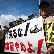 GUNMA, JAPAN - MARCH 10 : Anti U.S. Base protesters is seen in front of the gate of JGSDF Camp Soumagahara during a joint training drill of US Marines and Japan's Ground Self Defense Force in Gunma prefecture, Japan on March 10, 2017. (Photo: Richard Atrero de Guzman/ANADOLU Agency)