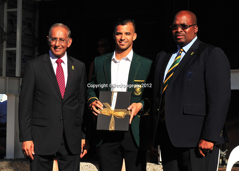 Haroon Lorgat (Cricket South Africa CEO), JP Duminy and Chris Nenzani (President of Cricket South Africa) during the 2015 Cricket World Cup Protea squad announcement  at the V&A Waterfront, Cape Town on 7 January 2015 ©Ryan Wilkisky/BackpagePix