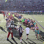 Matt Smalley #11 of the Boston Cannons is greeted by fans as he runs onto the field prior to the game at Harvard Stadium on May 17, 2014 in Boston, Massachuttes. (Photo by Elan Kawesch)