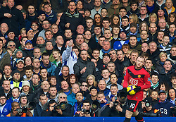 LIVERPOOL, ENGLAND - Saturday, February 20, 2010: Former Everton player, Manchester United's Wayne Rooney, is given a hostile reception on his return to Merseyside during the Premiership match at Goodison Park. (Photo by: David Rawcliffe/Propaganda)