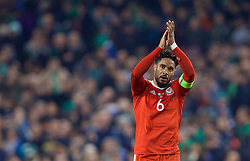 DUBLIN, REPUBLIC OF IRELAND - Friday, March 24, 2017: Wales' captain Ashley Williams applauds the supporters after the goal-less draw with Republic of Ireland during the 2018 FIFA World Cup Qualifying Group D match at the Aviva Stadium. (Pic by David Rawcliffe/Propaganda)