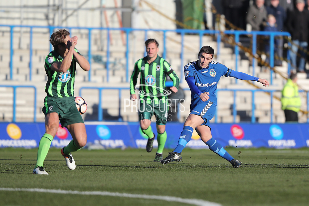 Curzon Ashton striker Adam Morgan (7) scores scores a goal 1-0 during the The FA Cup match between Curzon Ashton and AFC Wimbledon at Tameside Stadium, Ashton Under Lyne, United Kingdom on 4 December 2016. Photo by Stuart Butcher.