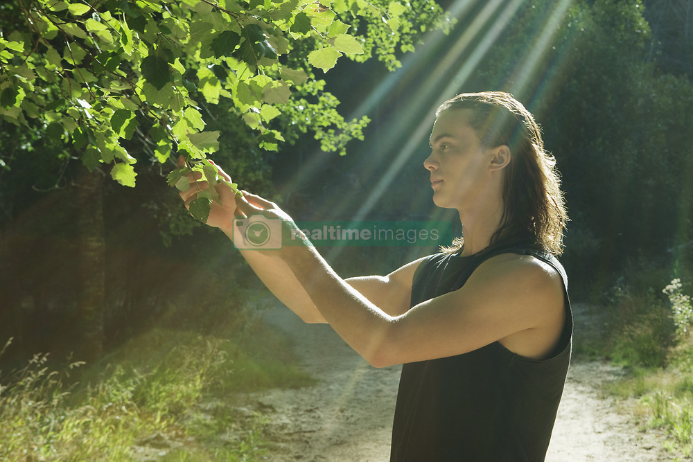 Jan. 11, 2010 - Young man holding leaf in forest. Model Released (MR) (Credit Image: © Cultura/ZUMAPRESS.com)