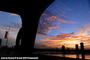 Panama, Panama 052707    The sun sets over the skycrapers in the city of Panama as seen from the maritime bridge. (photo by essdras M Suarez/EMS Photography)
