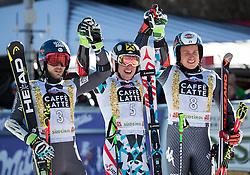 18.12.2016, Grand Risa, La Villa, ITA, FIS Ski Weltcup, Alta Badia, Riesenslalom, Herren, Siegerpräsentation, im Bild v.l. Mathieu Faivre (FRA, 2. Platz), Marcel Hirscher (AUT, 1. Platz), Florian Eisath (ITA, 3. Platz) // f.l. second placed Mathieu Faivre of France, race winner Marcel Hirscher of Austria, third placed Florian Eisath of Italy during the winner presentation for the men's Giant Slalom of FIS ski alpine world cup at the Grand Risa race Course in La Villa, Italy on 2016/12/18. EXPA Pictures © 2016, PhotoCredit: EXPA/ Johann Groder