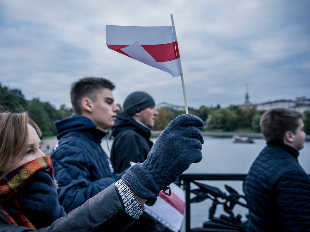 An anti-government march on Saturday, October 10, 2015 in Minsk, Belarus. Taking place the day before presidential elections, the march demonstrated a level of freedom not previously tolerated, though the election is still considered far from free or democratic.
