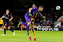 Bernd Leno of Arsenal clears the ball from Raul Jimenez of Wolverhampton Wanderers - Mandatory by-line: Robbie Stephenson/JMP - 24/04/2019 - FOOTBALL - Molineux - Wolverhampton, England - Wolverhampton Wanderers v Arsenal - Premier League