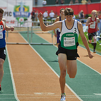 Jacob McLennan wins the Junior Men's 400m Hurdle Final at the Athletics Canada Olympic Trials at Foote Field, Edmonton.