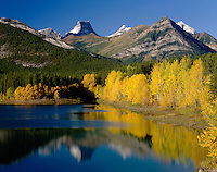 Wedge Pond in autumn Fortress mountain in background, Kananaskis Country Alberta Canada beautiful