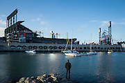A Chicago Cubs fan hangs out in McCovey Cove before Game 3 of the NLDS against the San Francisco Giants at AT&T Park in San Francisco, Calif., on October 10, 2016. (Stan Olszewski/Special to S.F. Examiner)