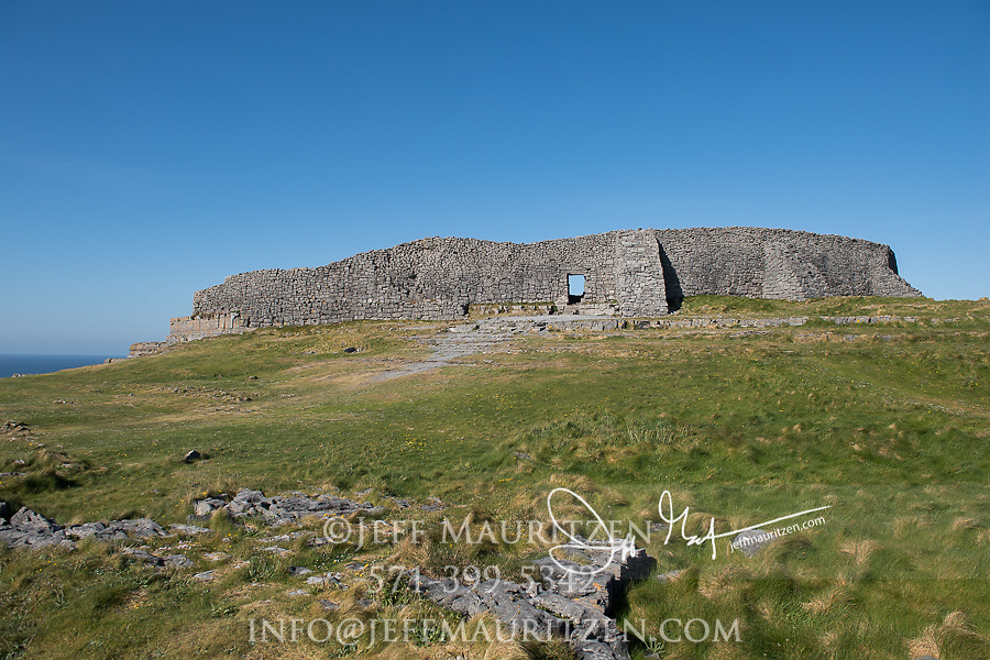Dun Aengus prehistoric stone ringfort on Inishmore, Aran Islands, County Galway, Ireland.