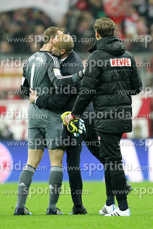 27.02.2015, Allianz Arena, Muenchen, GER, 1. FBL, FC Bayern Muenchen vs 1. FC K&ouml;ln, 23. Runde, im Bild l-r: Schlussjubel, Manuel Neuer #1 (FC Bayern Muenchen) und Chef-Trainer Pep Guardiola (FC Bayern Muenchen) // during the German Bundesliga 23rd round match between FC Bayern Munich and 1. FC K&ouml;ln at the Allianz Arena in Muenchen, Germany on 2015/02/27. EXPA Pictures &copy; 2015, PhotoCredit: EXPA/ Eibner-Pressefoto/ EXPA/ Kolbert<br /> <br /> *****ATTENTION - OUT of GER*****