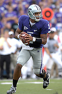 MANHATTAN, KS - OCTOBER 06:  Manhattan, KS - October 06:  Quarterback Josh Freeman #1 of the Kansas State Wildcats rolls outside against the Kansas Jayhawks, during a NCAA football game on October 06, 2007 at Bill Snyder Family Stadium in Manhattan, Kansas.  Kansas won the game 30-24.  (Photo by Peter Aiken/Getty Images)