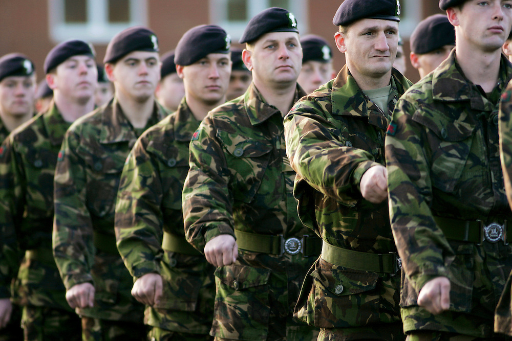 1st Battalion Royal Regiment of Wales marching on parade at Tidworth Army Camp, Hampshire, United Kingdom