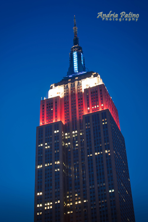 Empire State Building in Red, White and Blue