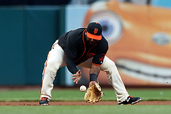 SAN FRANCISCO, CA - AUGUST 05: Pablo Sandoval #48 of the San Francisco Giants fields a ground ball hit off the bat of Jeff Mathis (not pictured) of the Arizona Diamondbacks during the fourth inning at AT&T Park on August 5, 2017 in San Francisco, California. The San Francisco Giants defeated the Arizona Diamondbacks 5-4 in 10 innings.  (Photo by Jason O. Watson/Getty Images) *** Local Caption *** Pablo Sandoval