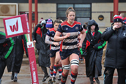 Amelia Buckland-Hurry of Bristol Ladies leads out her players after the interval - Mandatory by-line: Paul Knight/JMP - 03/02/2018 - RUGBY - Cleve RFC - Bristol, England - Bristol Ladies v Harlequins Ladies - Tyrrells Premier 15s