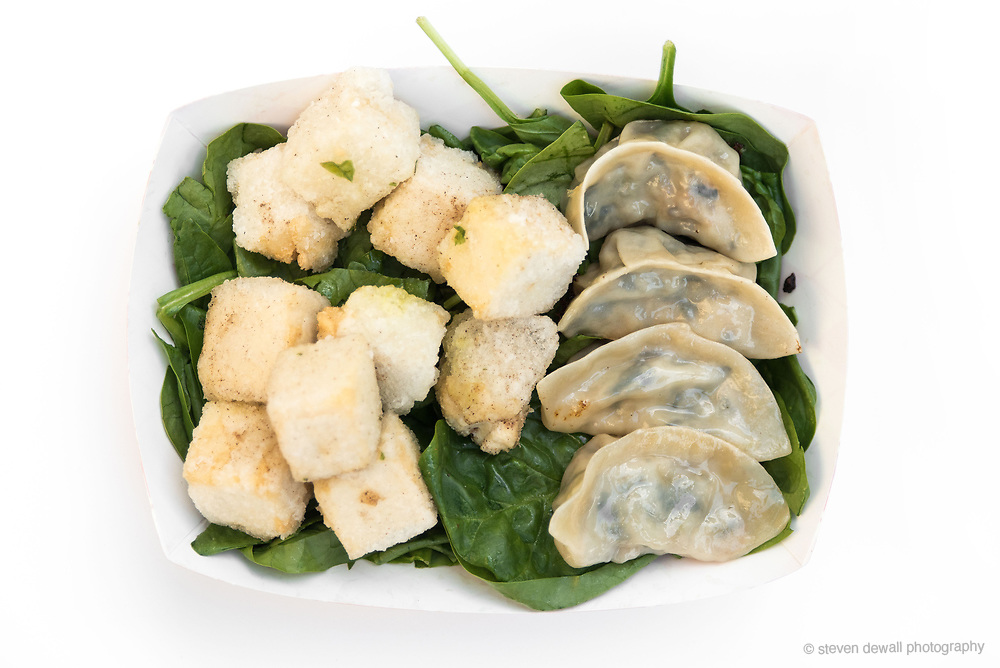Dumplings, Spinach and fried Tofu