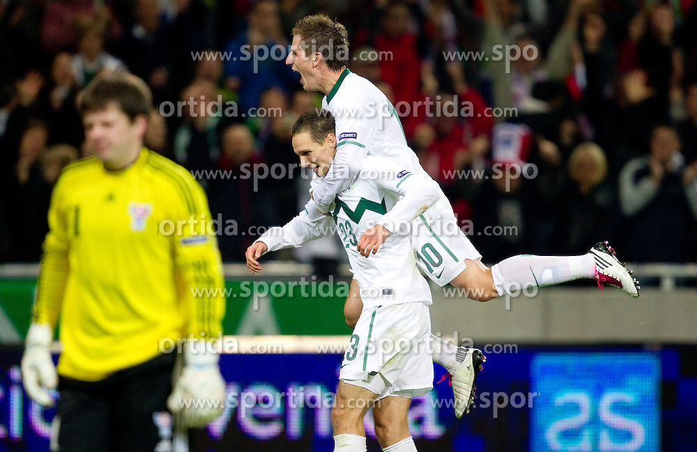 Tim Matavz and Valter Birsa of Slovenia celebrate during the EURO 2012 Group C Qualifier match between Slovenia and Faroe Islands at Stozice stadium on October 8, 2010 in SRC Stozice, Ljubljana, Slovenia. (Photo by Vid Ponikvar / Sportida)