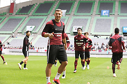 """Lukas Podolski releases a photo on Twitter with the following caption: """"""""Good energy in the stadium, always. 💪🏻🏟 #VisselKobe #LP10"""""""". Photo Credit: Twitter *** No USA Distribution *** For Editorial Use Only *** Not to be Published in Books or Photo Books ***  Please note: Fees charged by the agency are for the agency's services only, and do not, nor are they intended to, convey to the user any ownership of Copyright or License in the material. The agency does not claim any ownership including but not limited to Copyright or License in the attached material. By publishing this material you expressly agree to indemnify and to hold the agency and its directors, shareholders and employees harmless from any loss, claims, damages, demands, expenses (including legal fees), or any causes of action or allegation against the agency arising out of or connected in any way with publication of the material."""