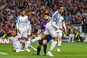 Barcelona forward Luis Suárez (9) tries to pull over Liverpool defender Joel Matip (32) during the Champions League semi-final leg 1 of 2 match between Barcelona and Liverpool at Camp Nou, Barcelona, Spain on 1 May 2019.