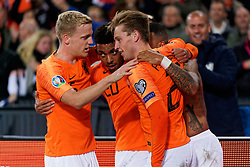 10-10-2019 NED: Netherlands - Northern Ireland, Rotterdam<br /> UEFA Qualifying round ­Group C match between Netherlands and Northern Ireland at De Kuip in Rotterdam / Memphis Depay #10 of the Netherlands scores 3-1, Donny van de Beek #6 of the Netherlands, Donyell Malen #20 of the Netherlands, Frenkie de Jong #21 of the Netherlands