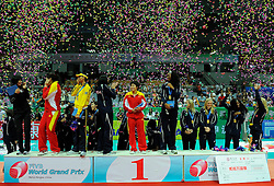 29-08-2010 VOLLEYBAL: WGP FINAL AWARDING CEREMONY: BEILUN NINGBO<br /> USA winner of the 18th WGP and Saori Kimura Japan (best scorer), Yimei Wang China (best server), Zhang Xian China (best libero), Jacqueline Carvalho Brazil (best spiker), Alisha Glass USA (best setter), Foluke Akinradewo USA (MVP and best blocker) <br /> ©2010-WWW.FOTOHOOGENDOORN.NL