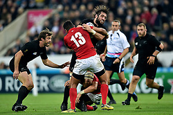 Sam Whitelock of New Zealand takes on the Tonga defence - Mandatory byline: Patrick Khachfe/JMP - 07966 386802 - 09/10/2015 - RUGBY UNION - St James' Park - Newcastle, England - New Zealand v Tonga - Rugby World Cup 2015 Pool C.