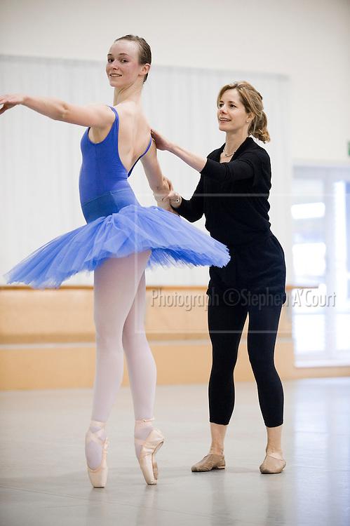 Acclaimed British ballerina Darcey Bussell coaches NZ School of Dance student Imogen Sorley, on 2 June 2012.