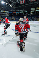 KELOWNA, CANADA - NOVEMBER 5: Brodan Salmond #31 of the Kelowna Rockets stretches on the ice during warm up against the Medicine Hat Tigers on November 5, 2016 at Prospera Place in Kelowna, British Columbia, Canada.  (Photo by Marissa Baecker/Shoot the Breeze)  *** Local Caption ***