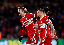 Patrick Bamford of Middlesbrough celebrates with teammates after scoring a goal to make it 2-0 - Mandatory by-line: Robbie Stephenson/JMP - 02/03/2018 - FOOTBALL - Riverside Stadium - Middlesbrough, England - Middlesbrough v Leeds United - Sky Bet Championship