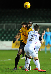Frank Nouble of Newport County and Aaron McGowan of Morecambe compete for the highball - Mandatory by-line: Nizaam Jones/JMP- 23/01/2018 - FOOTBALL - Rodney Parade - Newport, Wales- Newport County v Morecambe - Sky Bet League Two