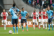 02-10-2016: Voetbal: Ajax v FC Utrecht: Amsterdam<br /> <br /> (L-R) FC Utrecht speler Sofyan Amrabat baalt van een benutte penalty van Ajax speler Lasse Schone tijdens het Eredivsie duel tussen Ajax en FC Utrecht op 2 oktober 2016 in stadion Arena in Amsterdam tijdens speelronde 8<br /> <br /> Eredivisie - Seizoen 2016 / 2017<br /> <br /> Foto: Gertjan Kooij