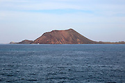 Lobos island former volcano offshore from  Corralejo, Fuerteventura, Canary Islands, Spain