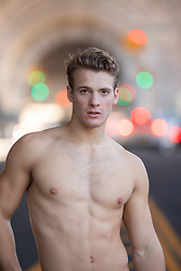 shirtless muscular man in New York City