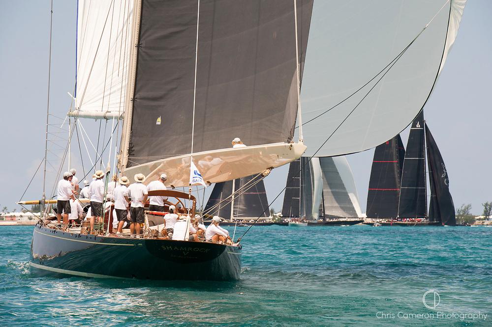 The Great Sound, Bermuda, 17th June America's Cup J Class parade. Shamrock V (JK3) and Svea. (JS1)