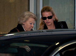 © London News Pictures. 03/03/2012. London, UK. Queen Beatrix of the Netherlands (left) and Princess Mabel  (right) leaving The Wellington Hospital in London hand in hand today (02/03/2012) after visiting Prince Friso at His Hospital bed. Prince Johan Friso, who has been in a coma since a skiing accident two weeks ago, has been flown from Austria to the London Hospital. Photo credit : Ben Cawthra/LNP