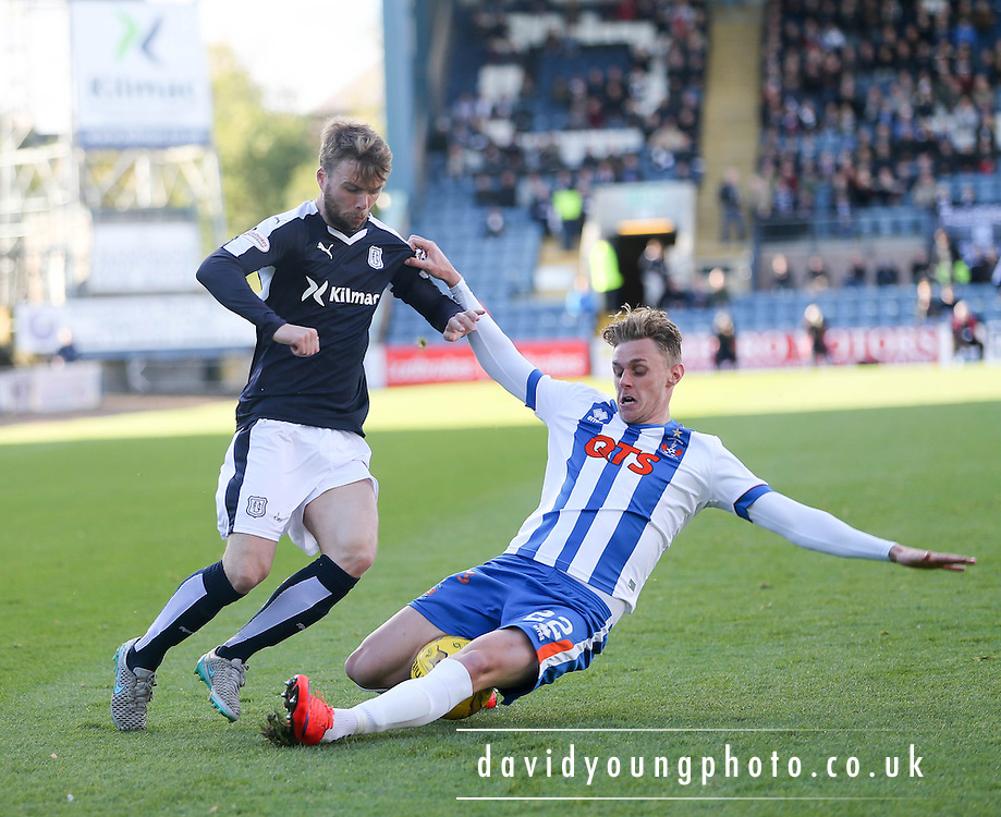 Kilmarnock&rsquo;s Kevin McHattie tackles Dundee&rsquo;s Rory Loy  - Dundee v Kilmarnock, Ladbrokes Premiership at Dens Park <br /> <br />  - &copy; David Young - www.davidyoungphoto.co.uk - email: davidyoungphoto@gmail.com