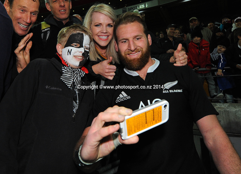All Black Kieran Read with fans during the Rugby Championship Rugby Union Test Match New Zealand All Blacks v South Africa. Westpac Stadium, Wellington, New Zealand. Saturday 13 September 2014. Photo: Chris Symes/www.photosport.co.nz