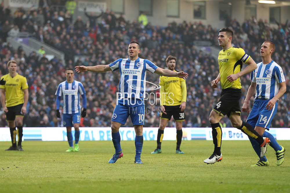 Brighton & Hove Albion centre forward Tomer Hemed (10) scores a goal 3-0 and celebrates during the EFL Sky Bet Championship match between Brighton and Hove Albion and Burton Albion at the American Express Community Stadium, Brighton and Hove, England on 11 February 2017.