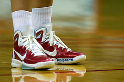 "01 January 2011: ""Focus on me"" is a statement on Hannah Spanich's left shoe.  NCAA Women's basketball game between the Northern Iowa Panthers and the Illinois State Redbirds at Redbird Arena in Normal Illinois."