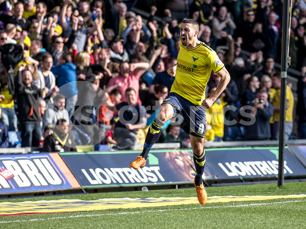 Liam Sercombe of Oxford United celebrates giving Oxford the lead during the Sky Bet League 2 match between Oxford United and Stevenage at the Kassam Stadium, Oxford, England on the 25th March 2016. Photo by Liam McAvoy.